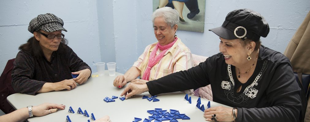 Seniors playing a game
