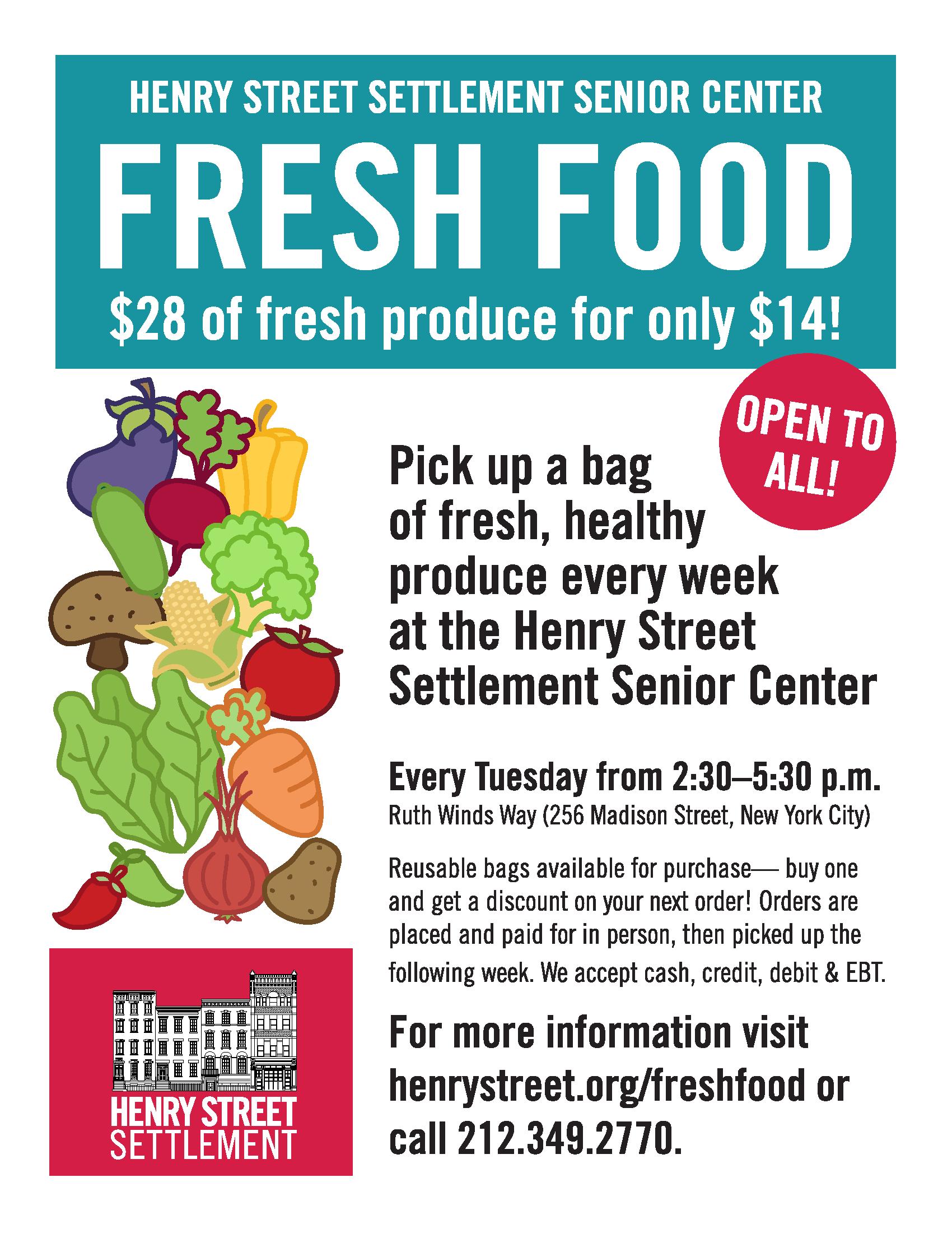 Fresh Food Bag Program flyer