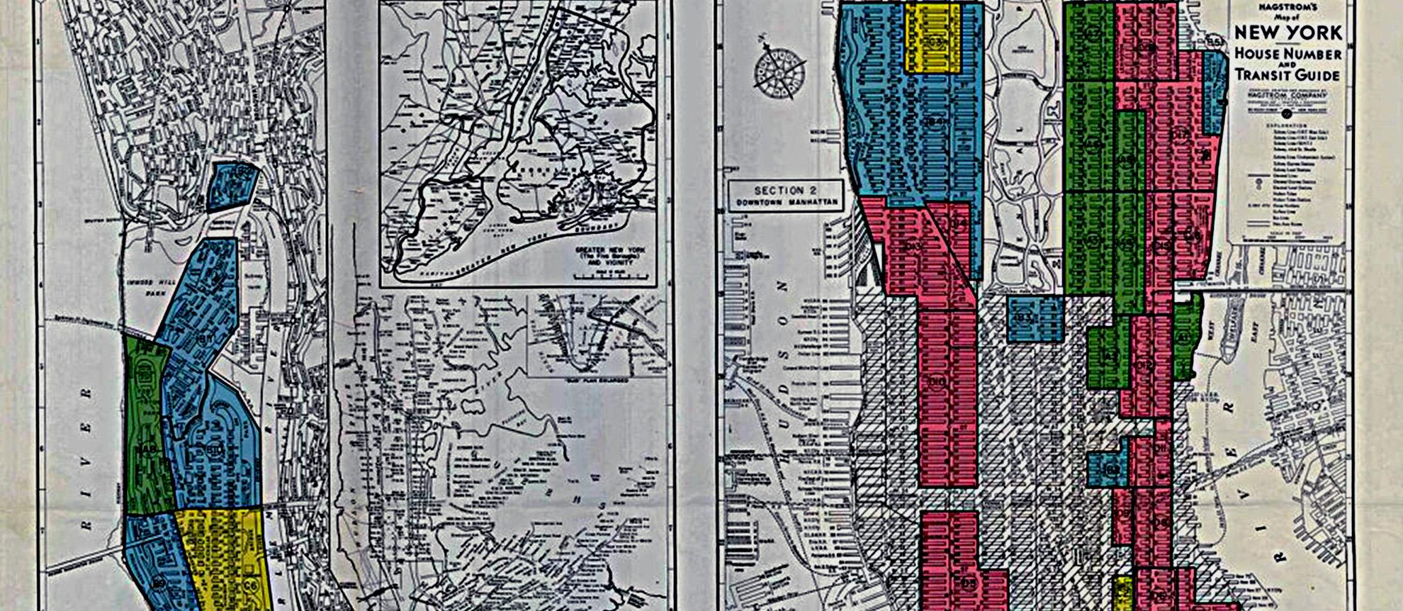 Vintage redlining map of New York City