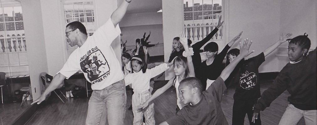 Vintage photo of dance class at Abrons Arts Center, 1990s
