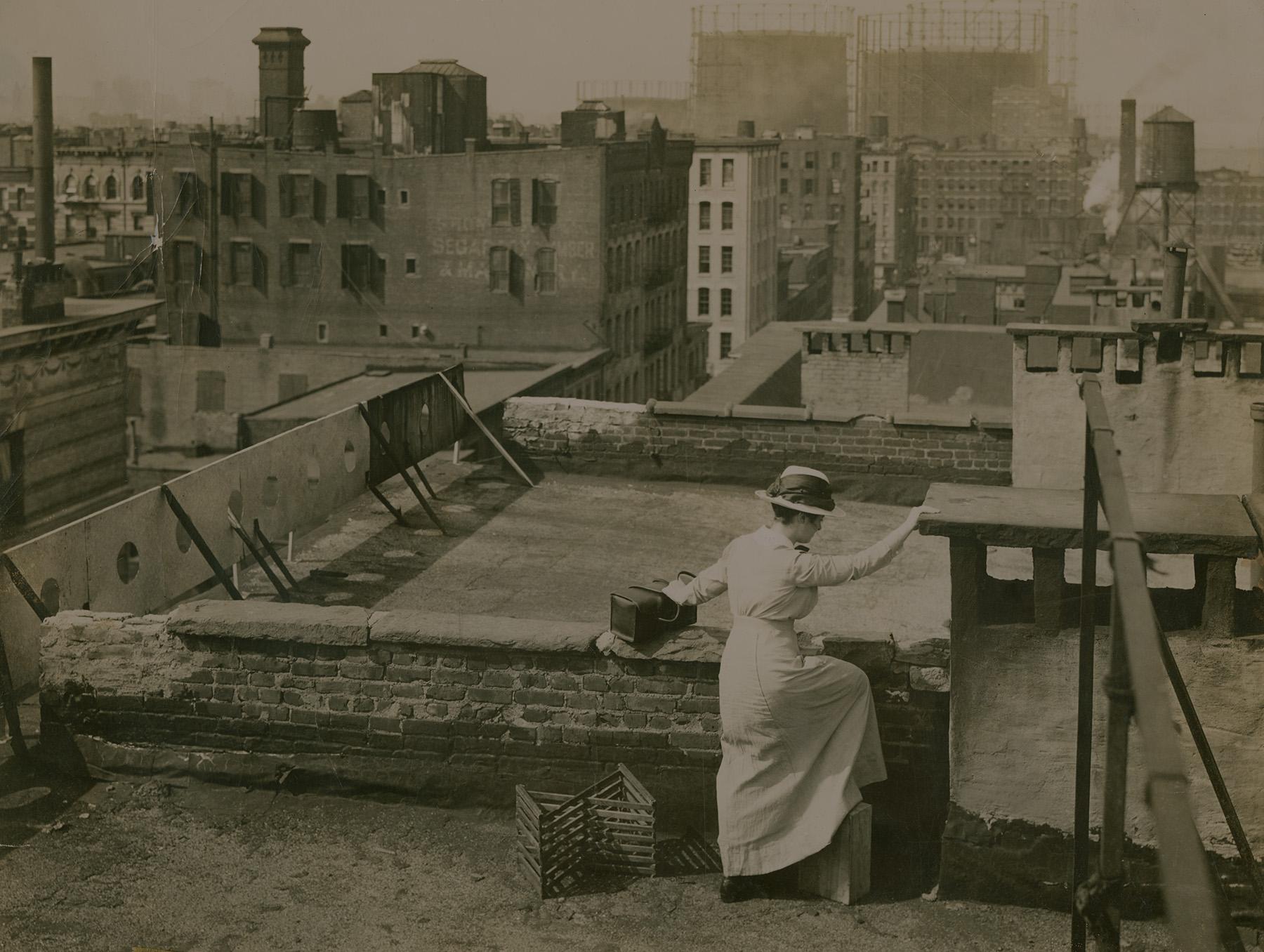 Vintage photo of nurse on rooftop, 1890s-1900s