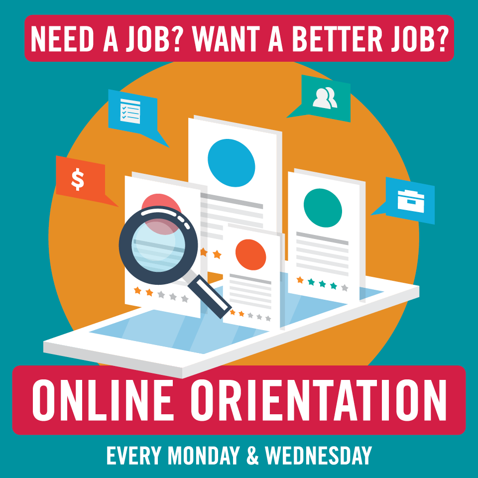 JET Online orientation graphic with resumes and tablet illustration