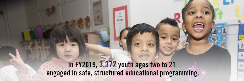 In FY2019, 3,372 youth ages two to 21 engaged in safe, structured educational programming.