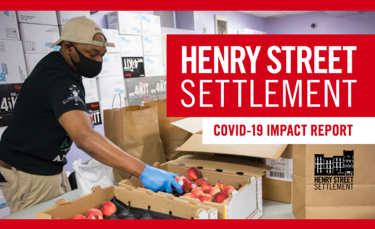 COVID Impact Report 2020 Cover Artwork Featuring Man Working At Food Pantry