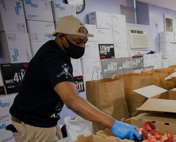 Man working at food pantry