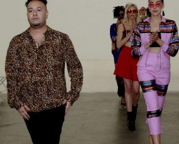 Fashion designer Andres Biel and models walk on catwalk