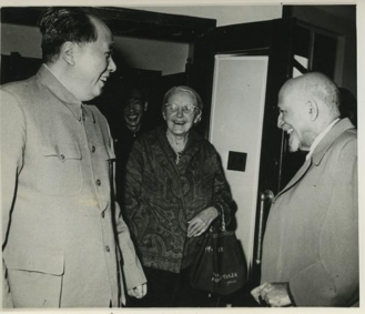 Black and white photo of Mao Zedong, Anna Louise Strong, and W. E. B. Du Bois, ca. 1959.